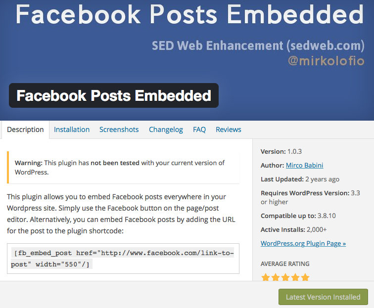 Facebook Post Embedded